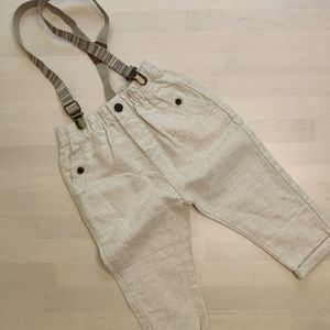 NEW Zara Linen/Cotton Pants with Suspenders- Age 2